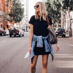 Black short sleeve dress rolled cuff tee dress